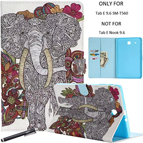 Newshine Galaxy Tab E 9.6 Case, Lightweight Magnetic Closure Case with Card Solts/Cash Holder for Samsung Galaxy Tab E 9.6 inch SM-T560 (Elephant&Flower) by NewShine