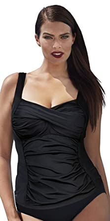 629b3e5f0203e5 Swimsuits For All Women's Plus Size Twist Front Tankini Top 10 Black