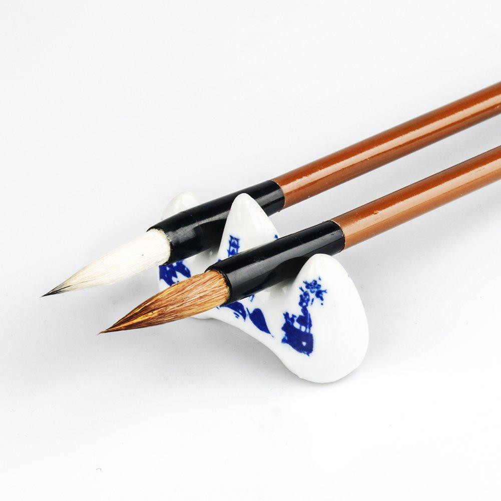Chinese Brush Writting or Paintting Inkstone Ink Block Stamp Ink Paste Penholder Water Bowl 10 PCS Aeola Chinese Brushes Painting Gift Set Chinese Calligraphy Brush