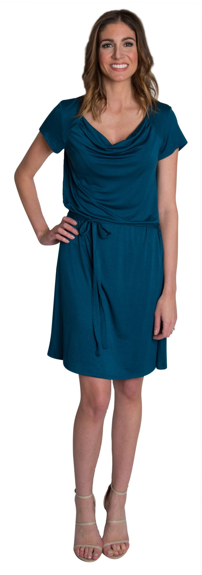 Udderly Hot Mama Chic Cowl Soft Drape Nursing and Pumping Dress - Teal, Size 2