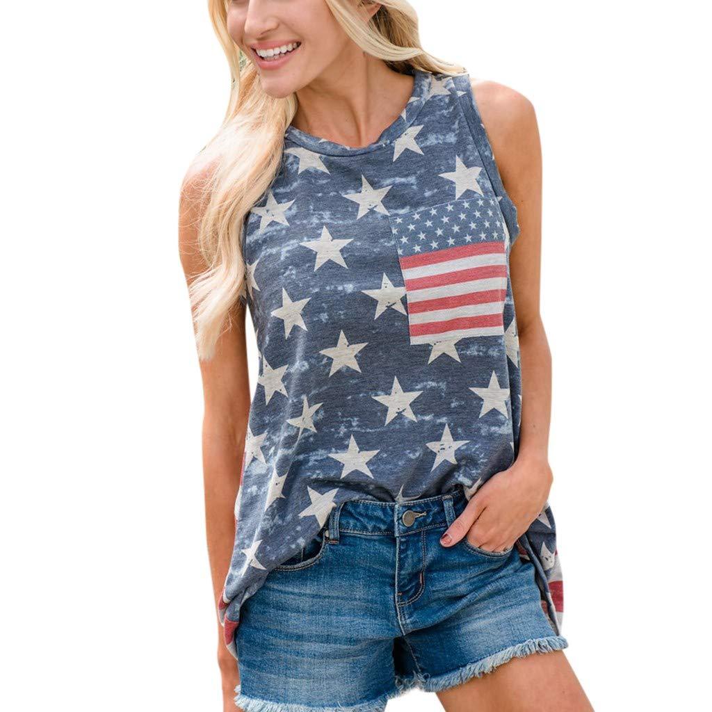Loose Vest for Women American Flag Print O Neck Sleeveless Pocket Summer Basic Tunic Tank Top (XXL, Red)