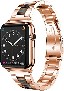 Compatible for Apple Watch Bands 38mm 40mm, Aottom iWatch Series 4 Bands Women Men Stainless Steel Fiber Resin Replacement Band Metal Bracelet Wristband for Apple Watch Series 4/3/2/1, Rose Gold/Black