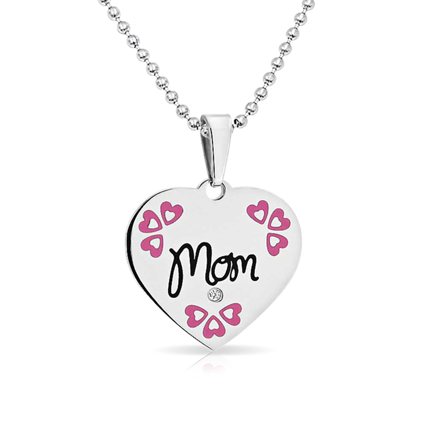Bling Jewelry Engravable CZ Pink Enamel Mom Heart Shaped Disc Pendant Stainless Steel Necklace 18 Inches HST-HSP10944