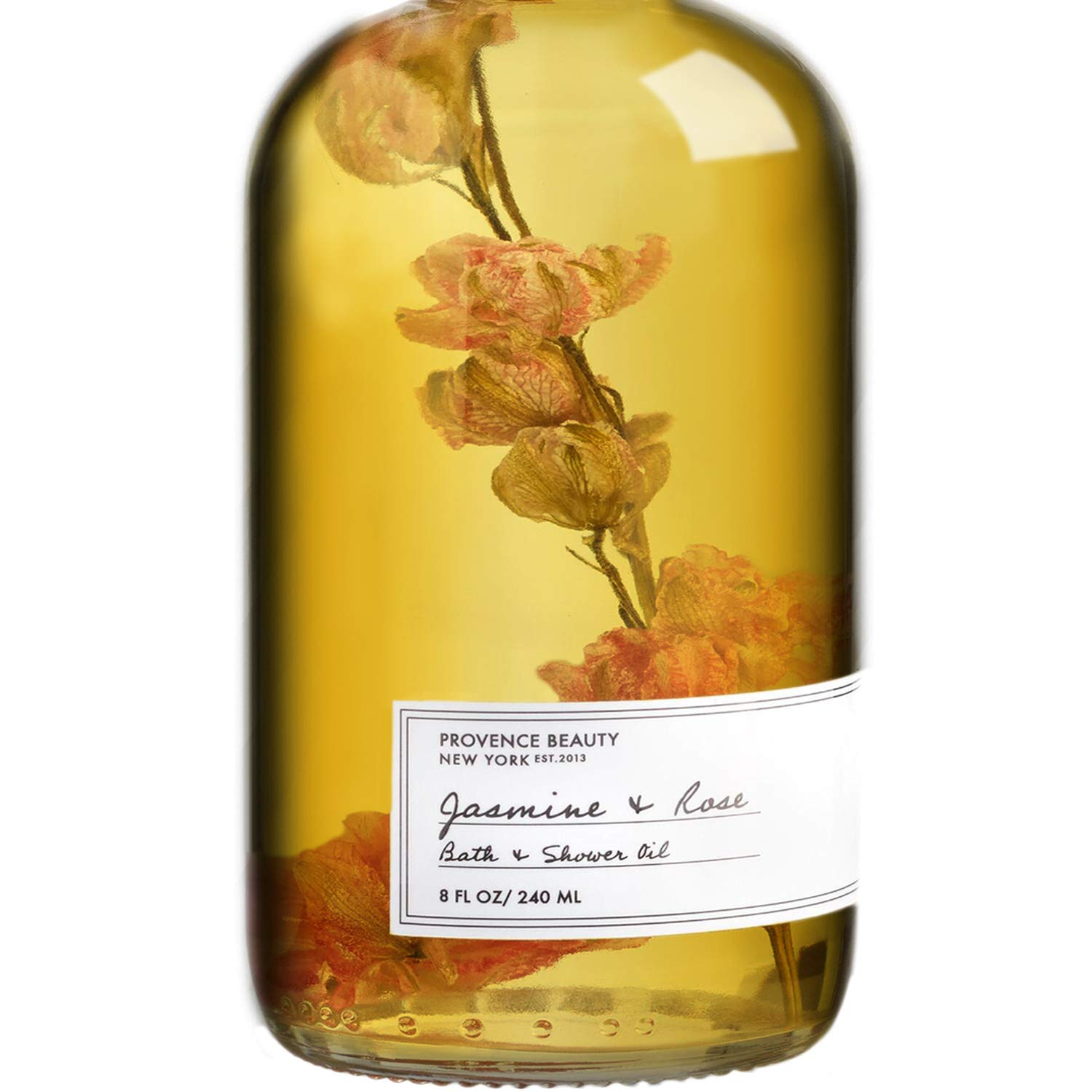 Provence Beauty Bath and Shower Oil - Jasminie and Rose - 8 Fl Oz - Cleansing and Softening Jojoba, Almond and Vitamin E Oil - Lathering Massage in the Shower