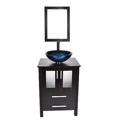 24 Inch Bathroom Vanity Modern Stand Pedestal Cabinet Wood Black