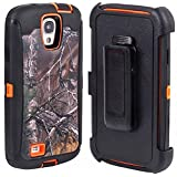 Huaxia Datacom Camo Tree Defender Military Grade Hybrid Case w/ Belt Clip Holster For Samsung Galaxy S4 SIV I9500 (not for S4 active / S4 MINI) - Camo Tree on Orange