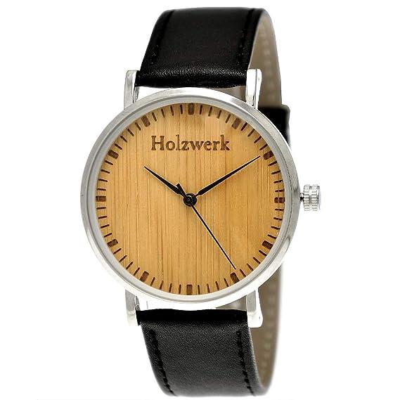 Henny pequeño Designer Unisex Mujer Hombre Certificado Madera Natural Slim Reloj de pulsera con esfera