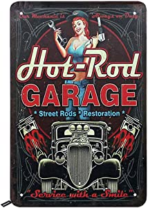 Swono Hot Rod Garage Tin Signs,Sexy Pin-Up Girl with Repair Tools and Retro Car on Black Background Vintage Metal Tin Sign for Men Women,Wall Decor for Bars,Restaurants,Cafes Pubs,12x8 Inch