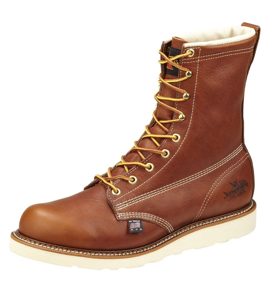 Thorogood 804-4210 Men's American Heritage 8'' Round Toe, MAXwear Wedge Waterproof Composite Safety Toe Boot, Tobacco Oil-Tanned - 11.5 2E US