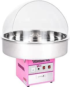 Royal Catering Máquina De Algodón De Azúcar Grande RCZK-1200XL (1200 W, Ø 72 cm, 1 unidad por minuto, Control separado del termostato y la rotación, Incl. cúpula antisalpicadura) Rosa: Amazon.es: Hogar