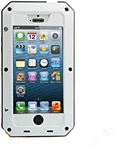 Mangix iPhone 5C Case, Water Resistant Shockproof Aluminum Metal [Outter] Super Anti Shake Silicone [Inner] Fully Body Protection with Gorilla Glass Screen for Apple iPhone 5C (White)