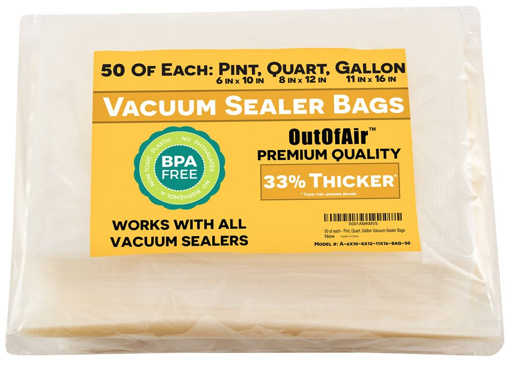 "150 Vacuum Sealer Bags: 50 Pint (6"" x 10""), 50 Quart (8"" x 12""), 50 Gallon (11"" x 16"") by OutOfAir - For Foodsaver and Other Savers. 33% Thicker, BPA Free, FDA Approved, Great for Sous Vide"