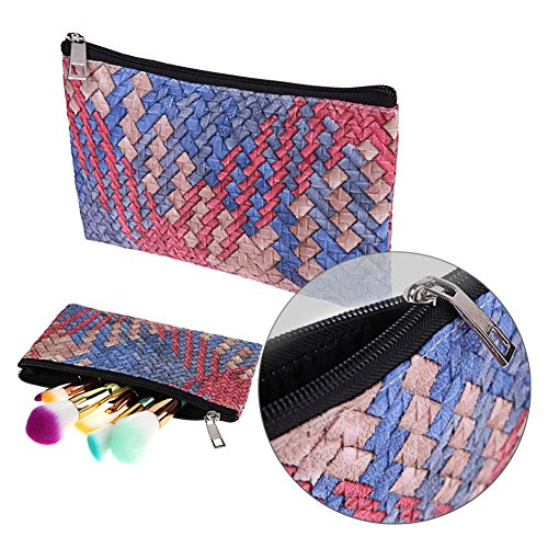 Blue Pouch Portable Widewing Makeup Storage Lipstick PU Lattice red Bag Shadow Cosmetics Eye Pw6xqp1vw