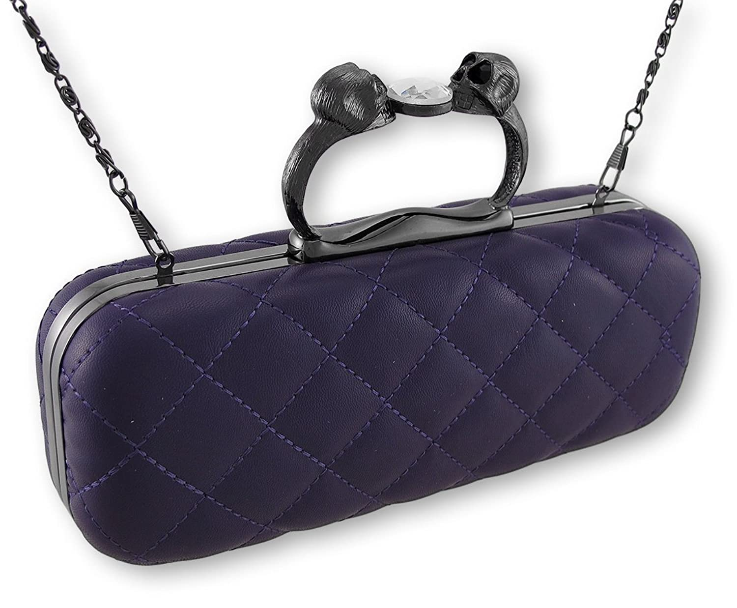 Purple Quilted Vinyl Clutch Purse with Gunmetal Gray Skull Handle