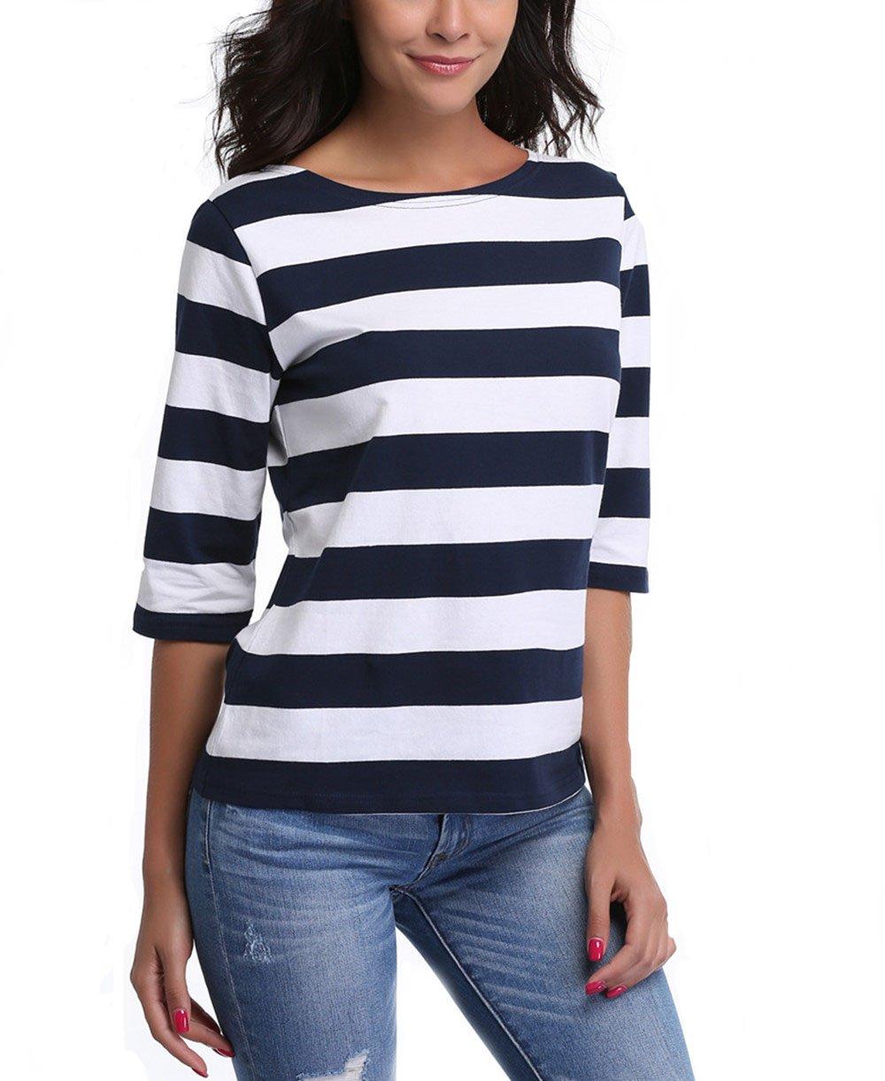 MISS MOLY SHIRT レディース B0756QVNHK S|Dark Blue Large Stripe Dark Blue Large Stripe S
