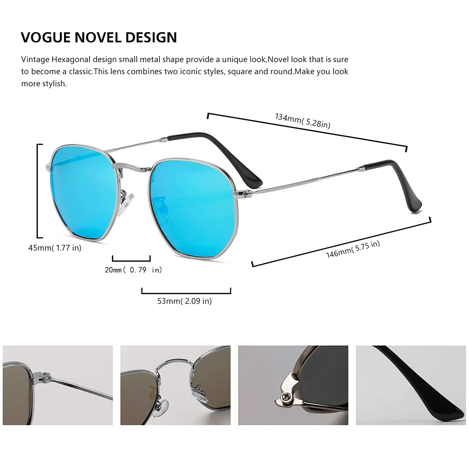 Hipster Hexagonal Polarized Sunglasses Men Women Geometric Square Small Vintage Metal Frame Retro Shade Glasses