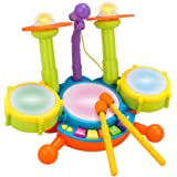 Kids Drum Set Beats Flash Light Toy With Adjustable Microphone