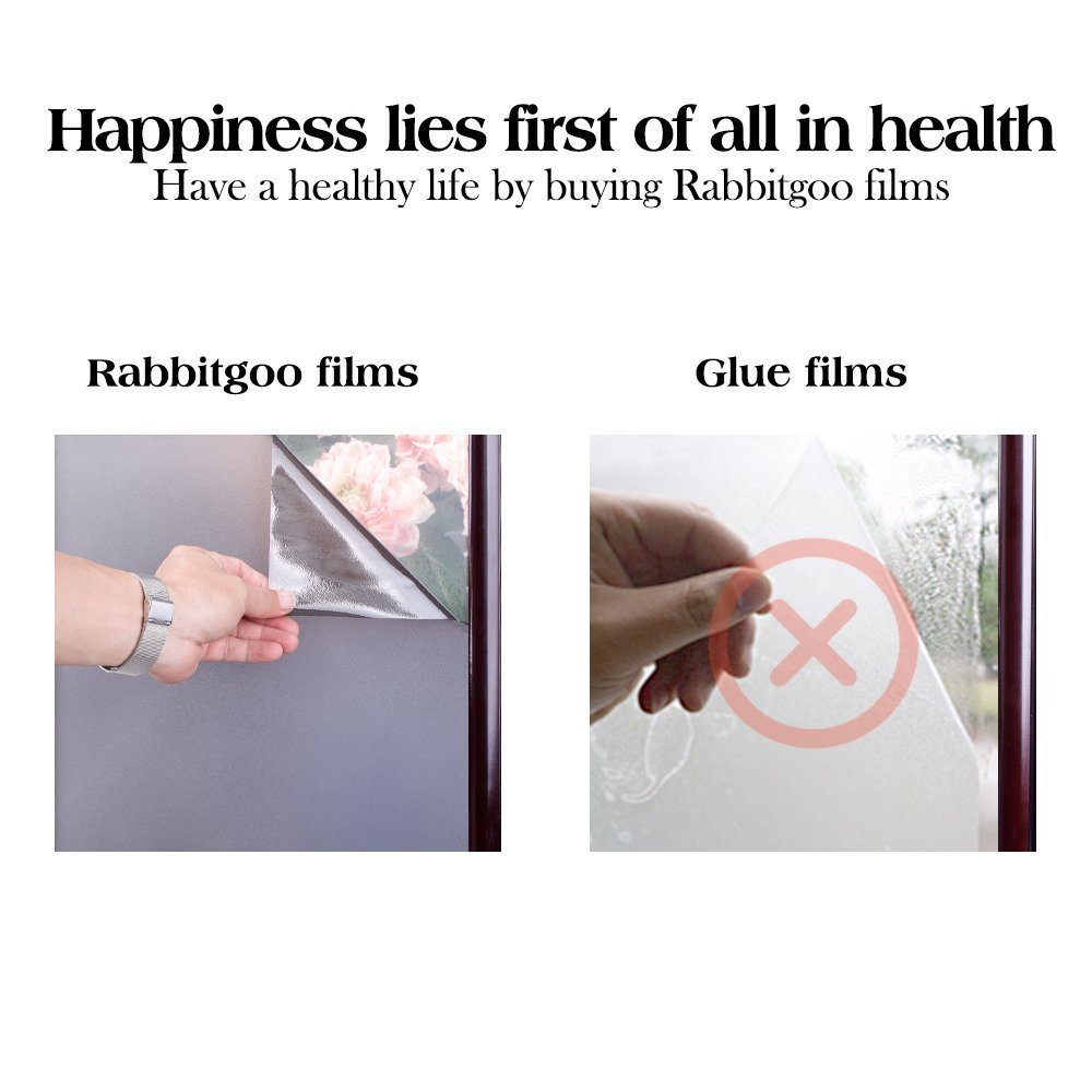 RABBITGOO Privacy Window Film Static Cling Window Privacy Film Light Blocking Window Sticker Dark Brown Frosted Glass Film Window Cling Film for Home Bathroom Office Living Room 35.4'' x 78.7''