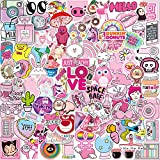 Pink Girl Series Stickers Pack 102-PCS Q-Window Personalised Vinyl Graffiti Sticker Decals for Wall Laptop Car Luggage Book Skateboard Motorcycle Bike Bumper Kids Patches Snowboard IPhone Macbook PS4 Switch Bomb Reward Stickers Waterproof