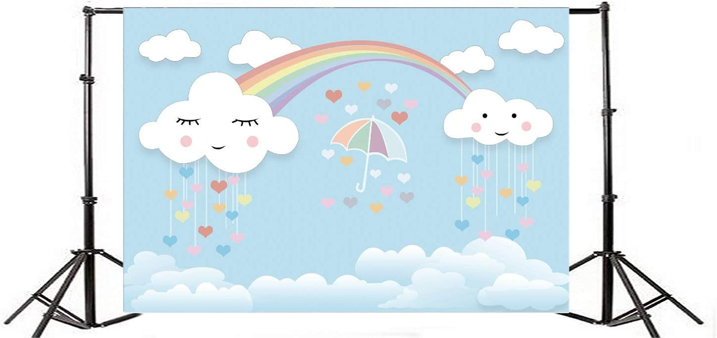 CdHBH Cartoon Cloud Blue Sky Background 7x5ft Vinly Photography Backdrop White Cloud Blue Sky Umbrella Hearts Cute Smile Face Rainbow Background Sweet Girls Baby Children Portratis