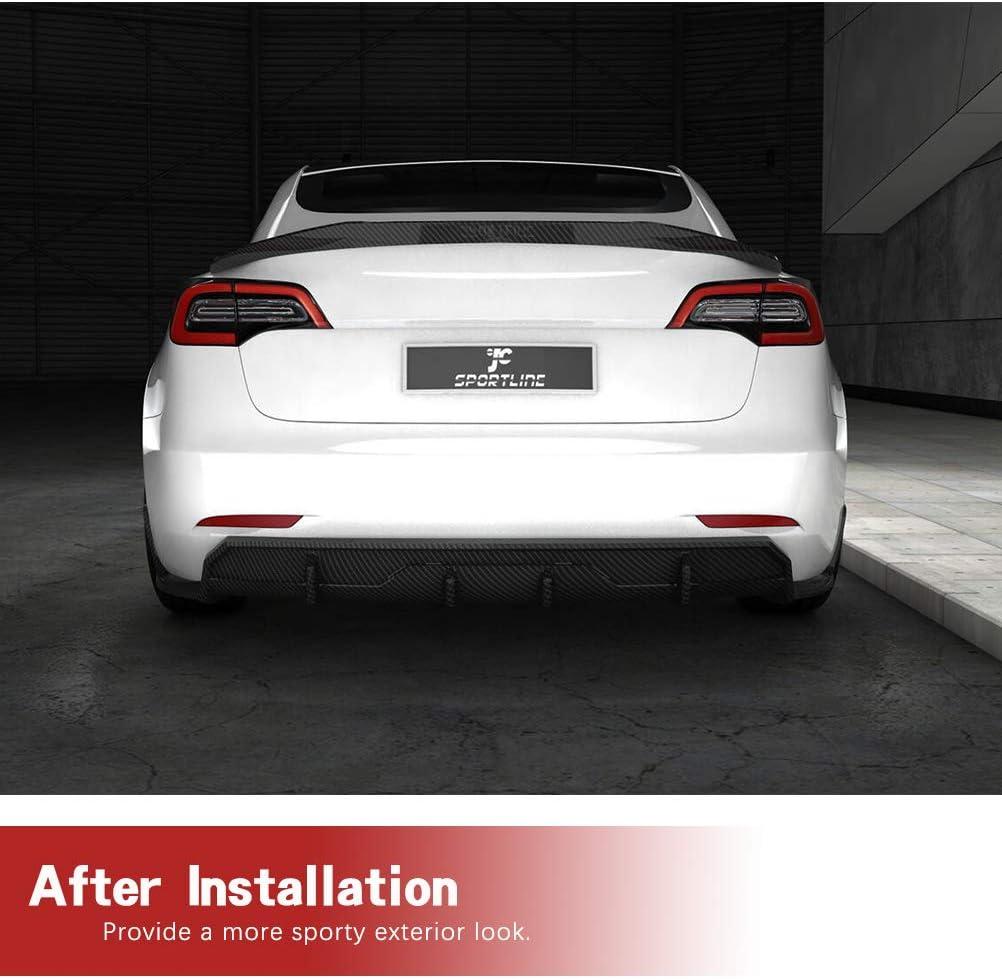 JC SPORTLINE Carbon Fiber Rear Diffuser fits for Tesla Model 3 Sedan 2016-2019 Bumper Cover Lower Lip Spoiler Valance Protector Factory Outlet