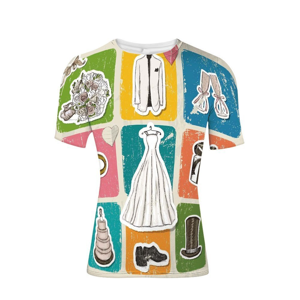 Tee Shirts Tops,Poster Style Framework Wedding Collection Dresses,Mens 3D Print