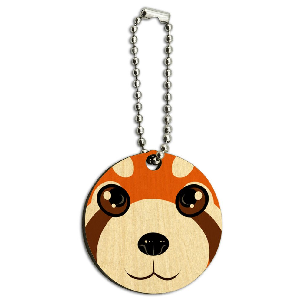 Red Panda Face Wood Wooden Round Key Chain