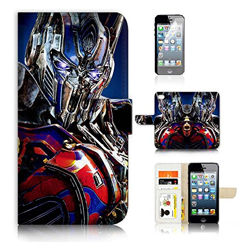 ( For iPhone 8 / iphone 7 ) Flip Wallet Case Cover & Screen Protector Bundle - A21294 Transformers Optimus Prime (Optimus Prime Cover)