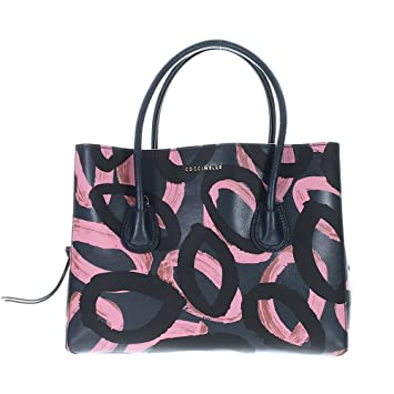 Coccinelle Celly Print Handborsa Leather Saffiano Blue Asphalt