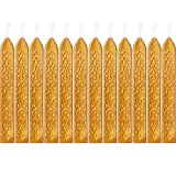 gold seal wax - Bememo 12 Pieces Sealing Wax Sticks with Wicks Antique Fire Manuscript Sealing Wax for Wax Seal Stamp (Gold Color)
