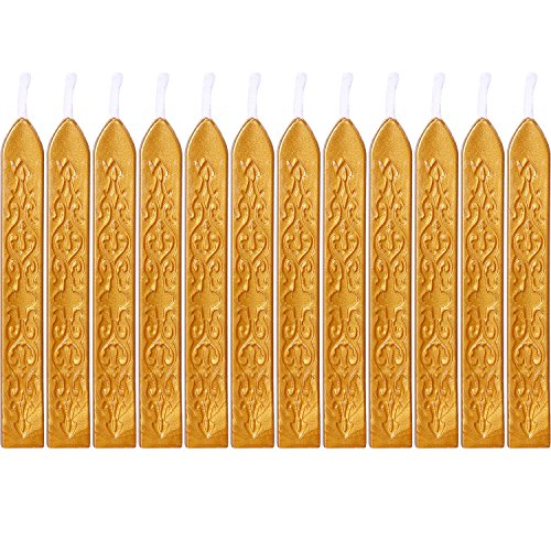 Bememo 12 Pieces Sealing Wax Sticks with Wicks Antique Fire Manuscript Sealing Wax for Wax Seal Stamp (Gold Color) ()