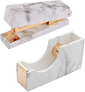 Marble White Stapler and Tape Dispenser Set Office School Desk Decor Accessories (Gold)