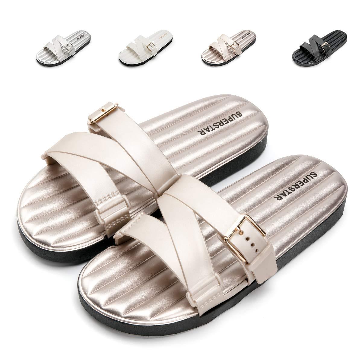 Nazhi Yang Slides Sandals for Mens and Womens Comfort Non Slip Outdoor Indoor Adjustment Shower Shoes