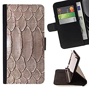DEVIL CASE - FOR Sony Xperia Z2 D6502 - Nature Reptile Skin Snake Brown Wallpaper - Style PU Leather Case Wallet Flip Stand Flap Closure Cover