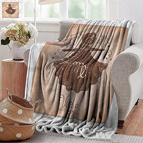 Xaviera Doherty Throw Blankets Fleece Blanket Virgo,Constellation Image Girl Microfiber All Season Blanket for Bed or Couch Multicolor ()