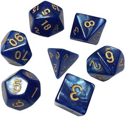 7pcs//set TRPG Game Dungeons /& Dragons Glitter D4-D20 Multi Sides Dice Black