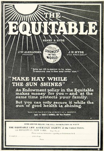 1903 Ad Equitable Life Insurance Banking 120 Broadway Nyc Finance Edwardian Era   Original Print Ad