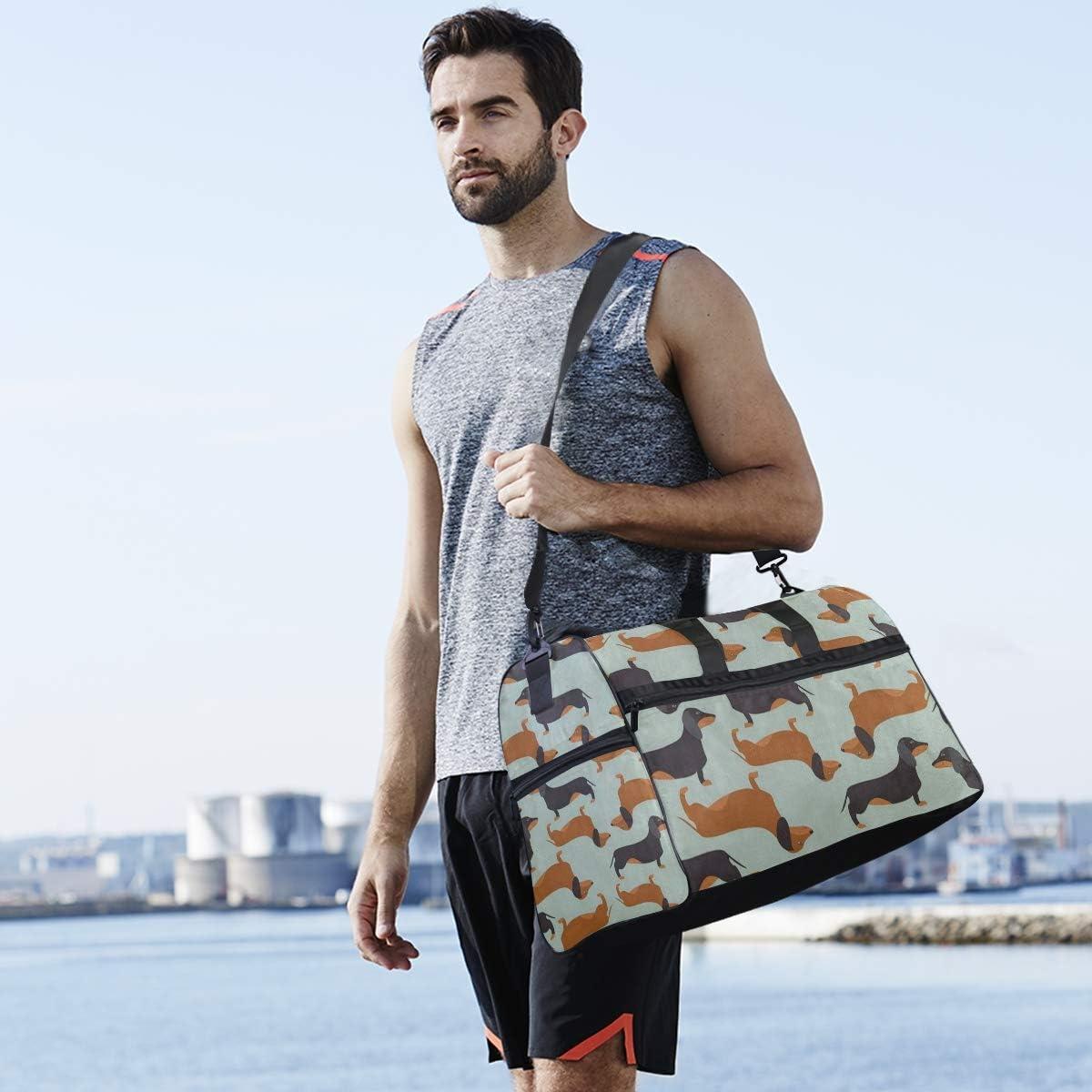 Gym Bag Vintage Dachshund Puppy Dog Duffle Bag Large Sport Casual Fashion Bag for Men Women
