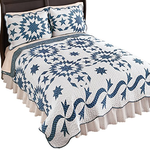 (Collections Etc Samantha Patch Starburst Blue White Reversible Lightweight Quilt, Navy, Full/Queen)