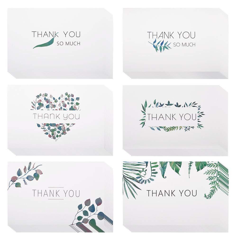 48 Tarjetas de agradecimiento de eZAKKA, Surtidos de graneles en blanco Acuarela Craft, Tarjetas