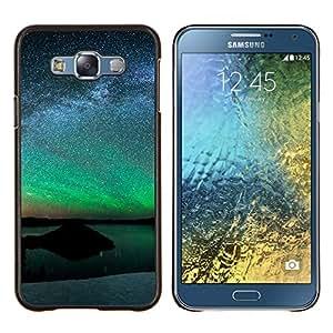 Aurora Paisaje- Metal de aluminio y de plástico duro Caja del teléfono - Negro - Samsung Galaxy E7 / SM-E700