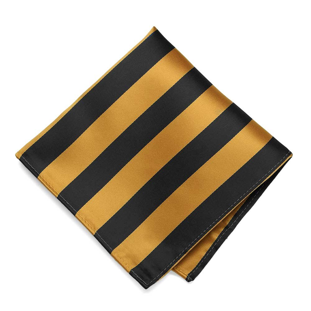 TieMart Black and Gold Bar Striped Pocket Square IS12PP-1234