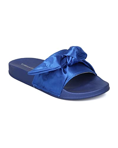 ebac264a6 Indulge Heartthentic FLO-01 Women Satin Open Toe Bow Tie Footbed Slide HC00  - Blue