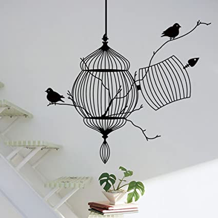 Amazon.com: BIBITIME Black Birdcage Wall Sticker 2 Birds on Tree ...