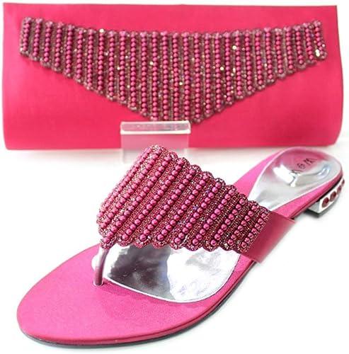 Wear & Walk UK W&W Women Ladies Crystal Diamante Shoes & Matching Bag Size 3 9 (Black,Green,Maroon,Peach, Shocking Pink,Turquoise) CORA & MISHI