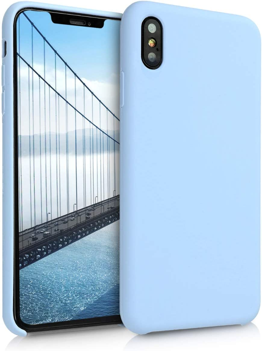 kwmobile TPU Silicone Case Compatible with Apple iPhone Xs Max - Case Slim Protective Phone Cover with Soft Finish - Light Blue