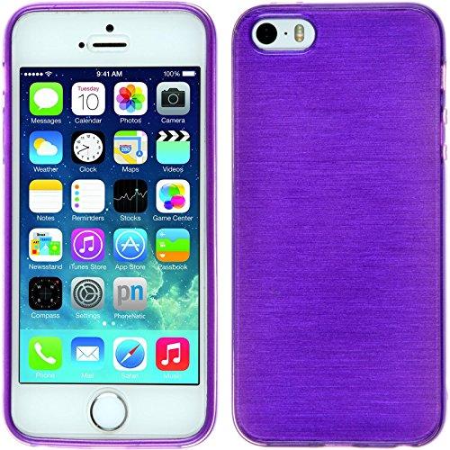 PhoneNatic Case für Apple iPhone 5 / 5s / SE Hülle Silikon lila brushed Cover iPhone 5 / 5s / SE Tasche + 2 Schutzfolien