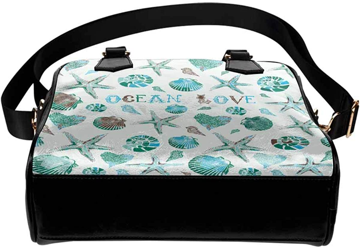 INTERESTPRINT Ocean Seashlees and Starfish Womens Top Handle PU Leather Shoulder Satchel Bag