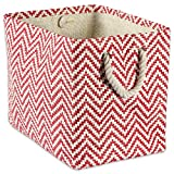 "DII Woven Paper Storage Basket or Bin, Collapsible & Convenient Home Organization Solution for Office, Bedroom, Closet, Toys, & Laundry (Medium – 15x10x12""), Rust Chevron"