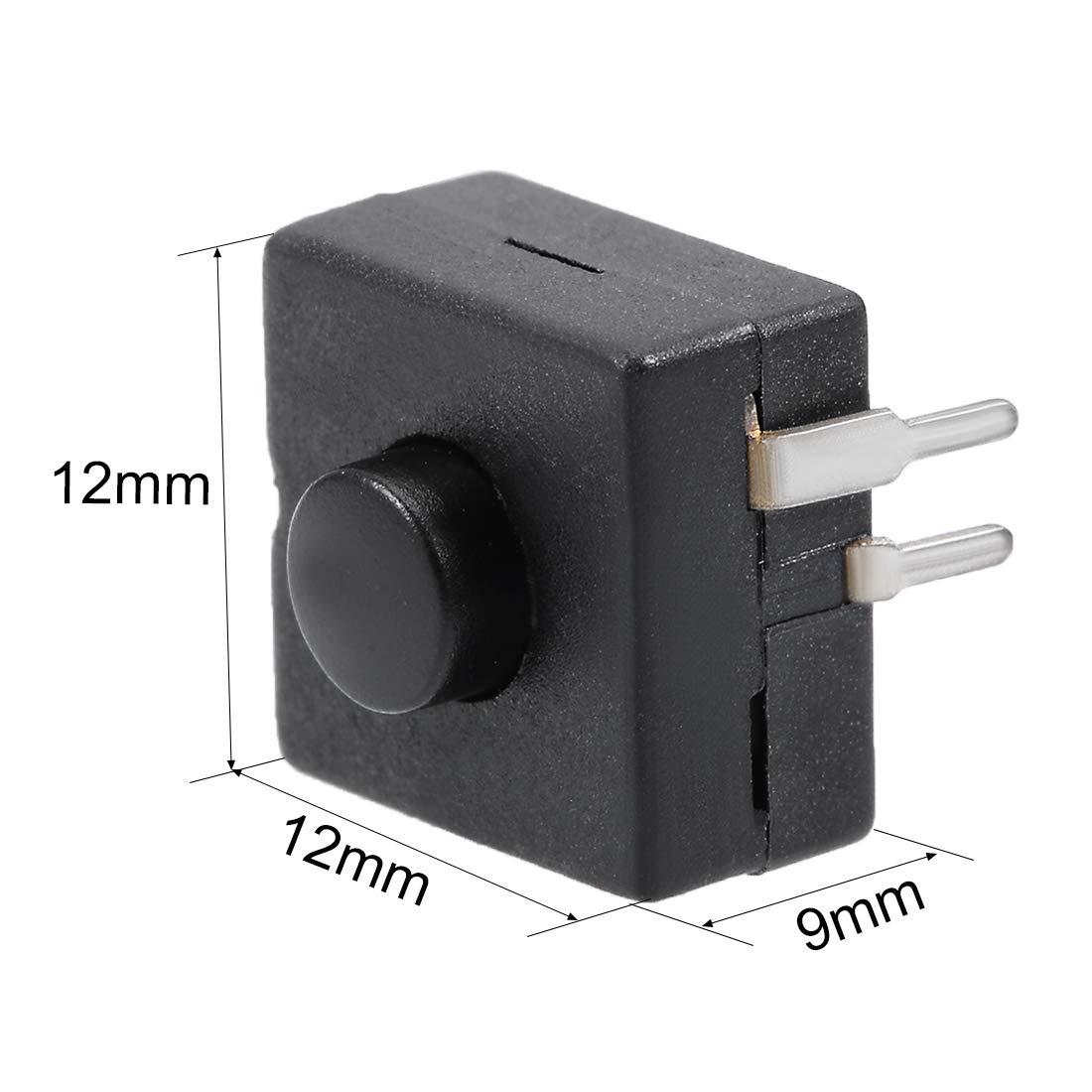 sourcing map 5 pcs Interruptor t/áctil 12x12x9mm 2 Polos PCB enclavado Pulsador para linterna negro